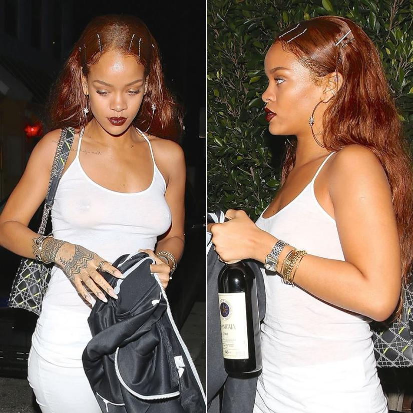 Rihanna wearing Jacquie Aiche sweet leaf hoop earrings, Dior Diorama handbag, Unearthen crystal pyramid watch, Jennifer Fisher snake vertebrae cuff bracelet