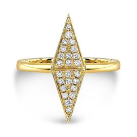 Ruby Stella 14k yellow gold and diamond double triangle ring as seen on Rihanna