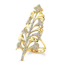 Ruby Stella 14k yellow gold and diamond family tree ring as seen on Rihanna