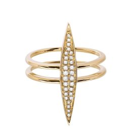 Ruby Stella 14k yellow gold and diamond marquise bar ring as seen on Rihanna