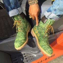 Timberland x Bee Line grass print boots as seen on Rihanna