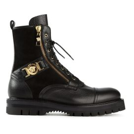 Versace Medusa buckle boots as seen on Rihanna