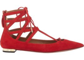 Aquazzura Belgravia red suede flat sandals as seen on Rihanna