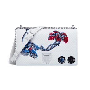Dior Diorama white quilted and embroidered handbag as seen on Rihanna