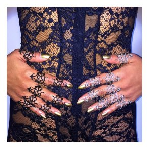 Lynn Ban black and white diamond lace rings as seen on Rihanna