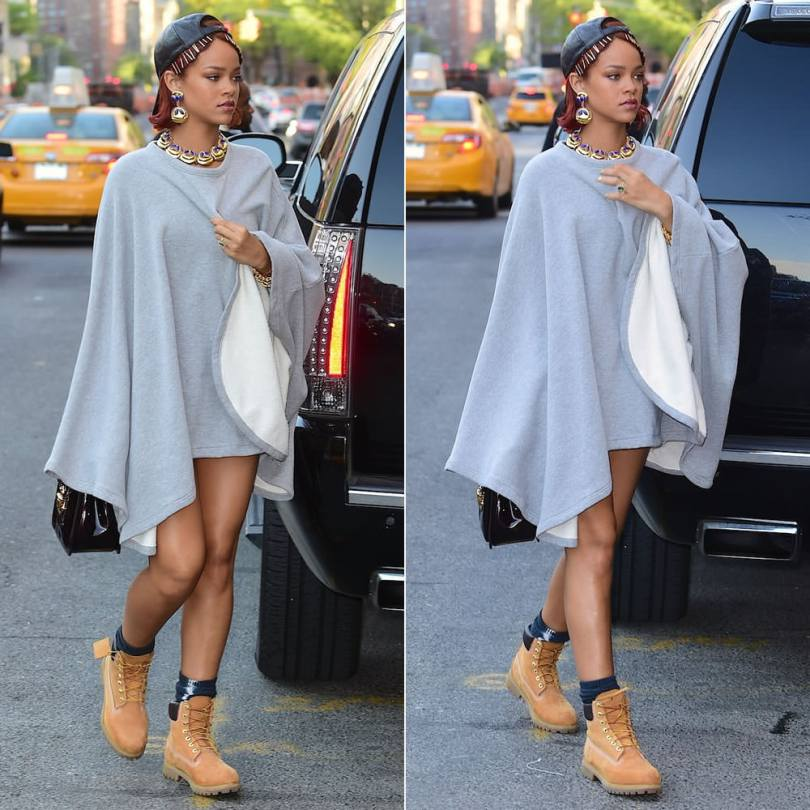 Rihanna wearing 6397 fleece poncho, Timberland wheat nubuck boots, Vianel leather baseball cap, Louis Vuitton Mirada handbag
