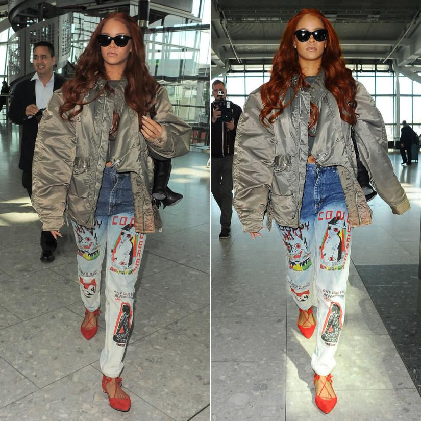 Rihanna wearing Come Tees Duppy Conqueror bleached jeans, Aquazzura Belgravia red suede sandals, Dominic Louis by Mandy Coon leather bunny backpack