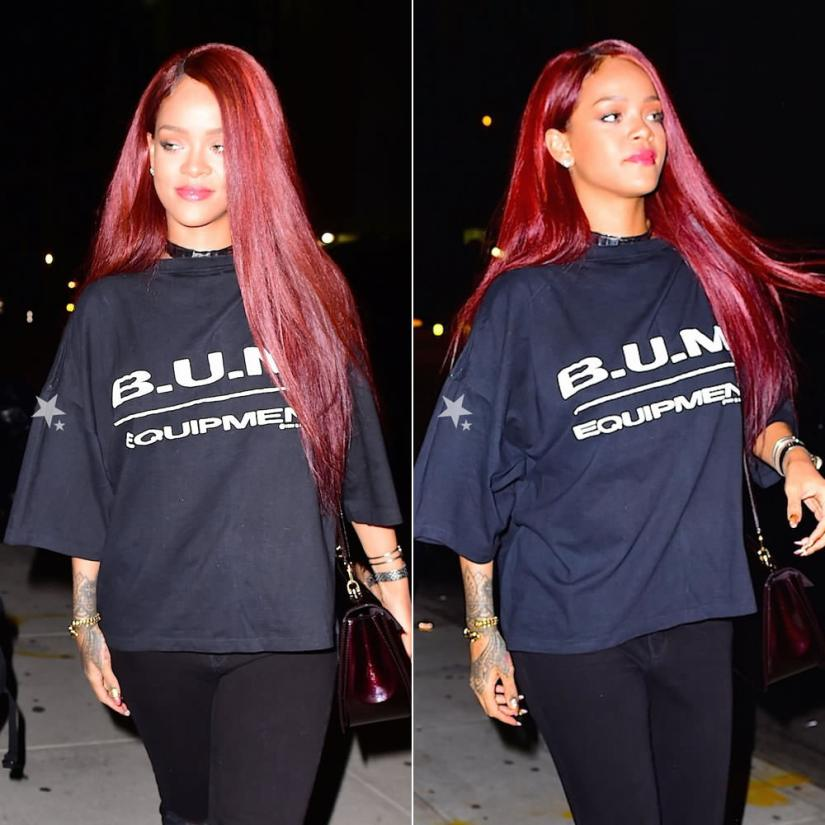 Rihanna wearing BUM Equipment t-shirt, Jennifer Fisher silver crinkle choker and snake vertebrae cuff, Louis Vuitton Mirada handbag