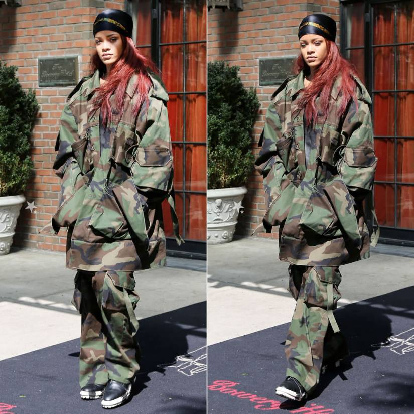 Rihanna wearing Matthew Dolan Fall 2015 camo jacket and pants, Balenciaga Unit marbled sole ankle boots, Iris and Ink Ava leather tank top, Lynn Ban Sirene ring