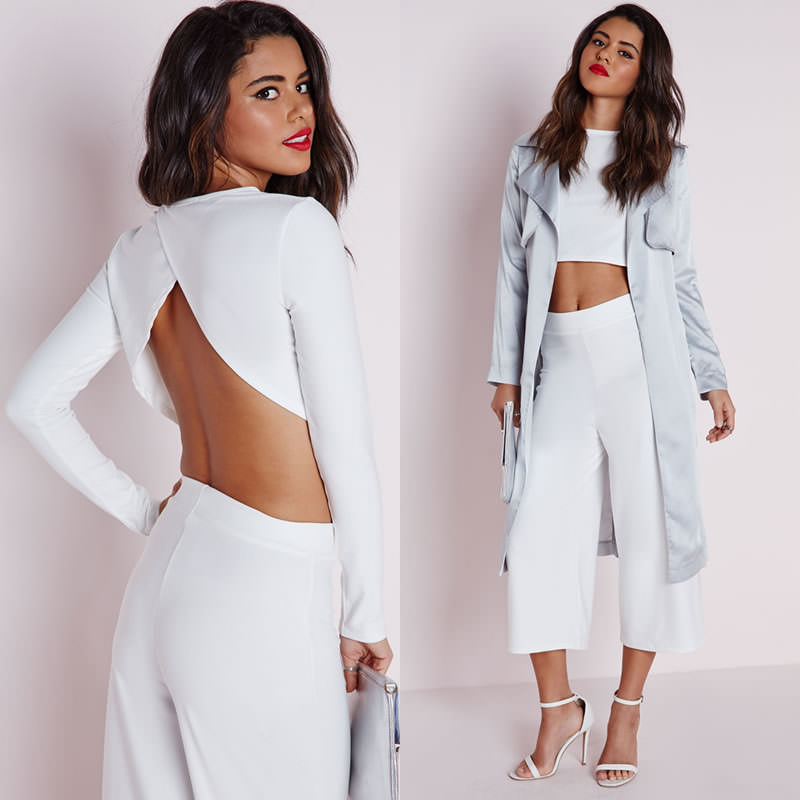 Missguided wrap back crop top and culottes