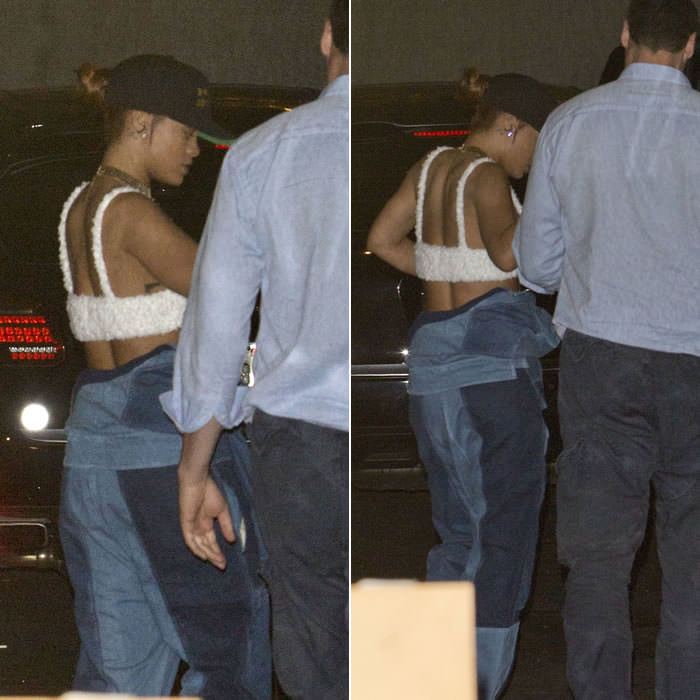 Rihanna wearing Enfants Riches Deprimes cap and Ambush denim jumpsuit