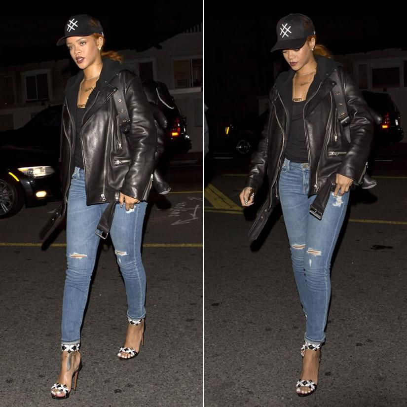 Rihanna wearing Lucid FC logo trucker hat, Acne Studios More leather jacket, Frame Denim Le Garcon jeans in Brooks, Azzedine Alaia cutout leather sandals, Mandy Coon x Dominic Louis leather bunny backpack, Jennifer Fisher diamond slice choker