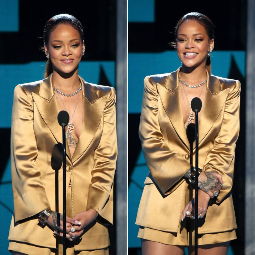 Rihanna at 2015 BET Awards wearing Armani bronze satin jacket and shorts, Jacquie Aiche 5 diamond body chain, Lynn Ban diamond orbital hoop ear cuffs, Neil Lane jewelry