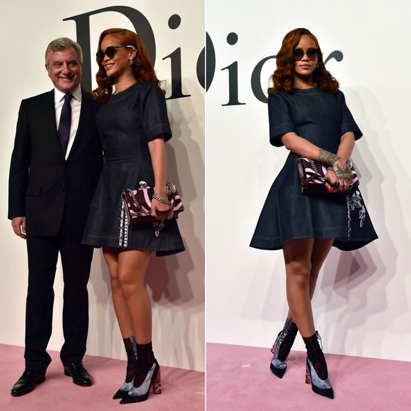 Rihanna at Dior Tokyo Fall 2015 fashion show wearing Dior mirroed sunglasses, Resort 2016 boots, Fall 2015 Diorama handbag, Gourmande earrings and Dior Oblique logo necklace