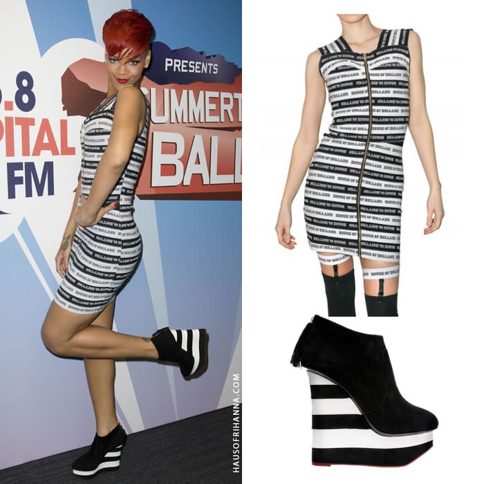 Rihanna at 2010 Capital Radio Summertime Ball wearing House of Holland elastic logo dress and Charlotte Olympia striped wedge boots