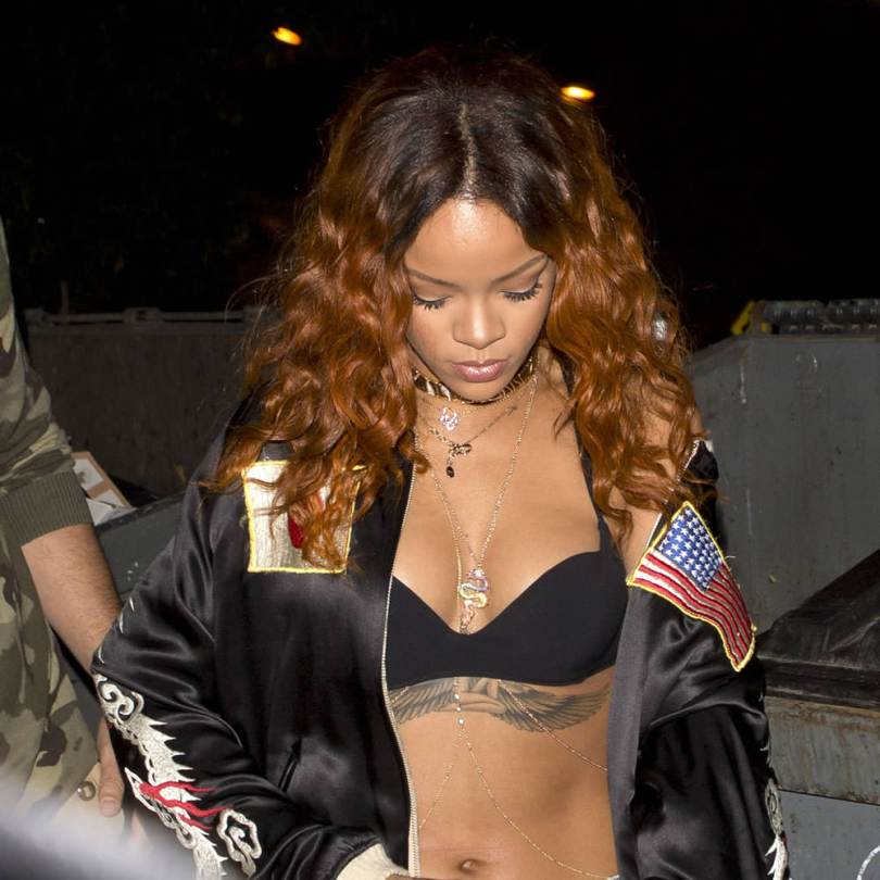Rihanna wearing Marina B kar collar choker, Dior oblique necklace, Jacquie Aiche 5 diamond body chain
