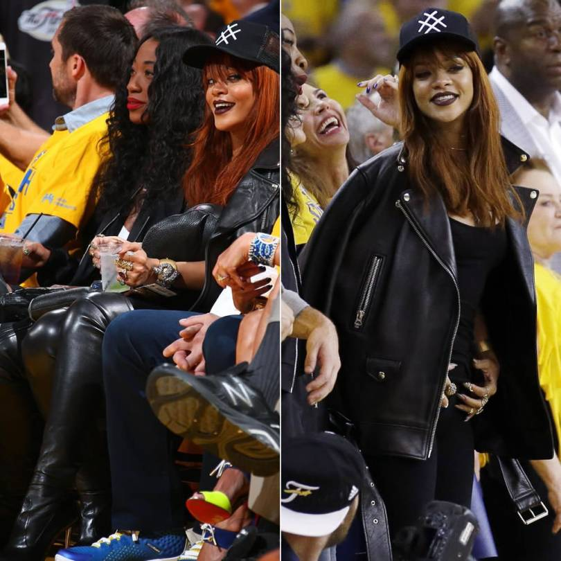 Rihanan wearing Lucid FC logo trucker hat, Acne Studios More leather jacket, Tom Ford black over-the-knee metal stiletto heel boots, Jacquie Aiche bunny ring and double pyramid ring, Mala by Patty Rodriguez Ride or Die necklace, Bijules nail ring, Dominic Louis x Mandy Coon bunny backpack