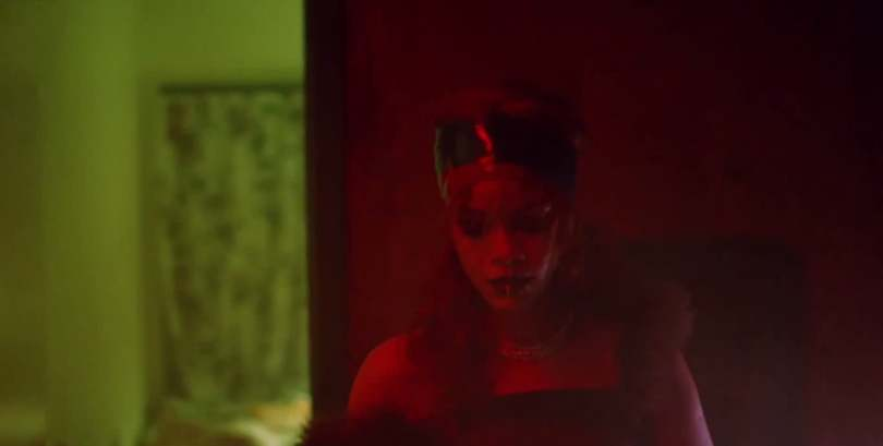 Rihanna Vex Clothing latex headband, Maison Margiela Fall 2015 top Bitch Better Have My Money video