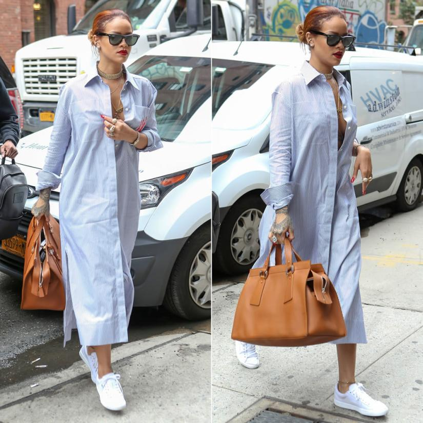 Rihanna wearing Ray-Ban wayfarer sunglasses, Celine pre-fall 2015 shirt dress, Puma basket classic sneakers, Armani le sac 11 handbag