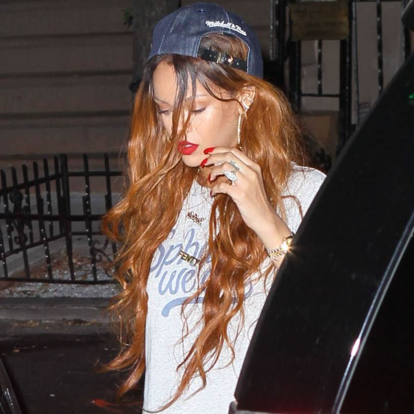 Rihanna Mitchell and Ness Just Don Brooklyn Nets denim hat, Spharell We Are logo t-shirt, Mala by Patty Rodriguez ride or die necklace