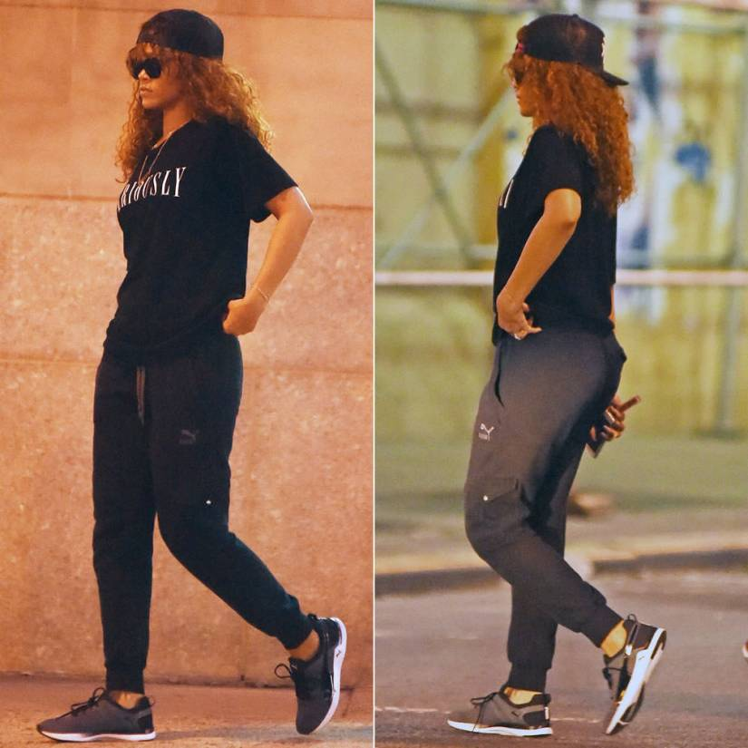 Rihanna wearing Lucid FC trucker hat, Brashy Couture Seriously t-shirt, Puma cargo pants and Pulse XT Geo sneakers