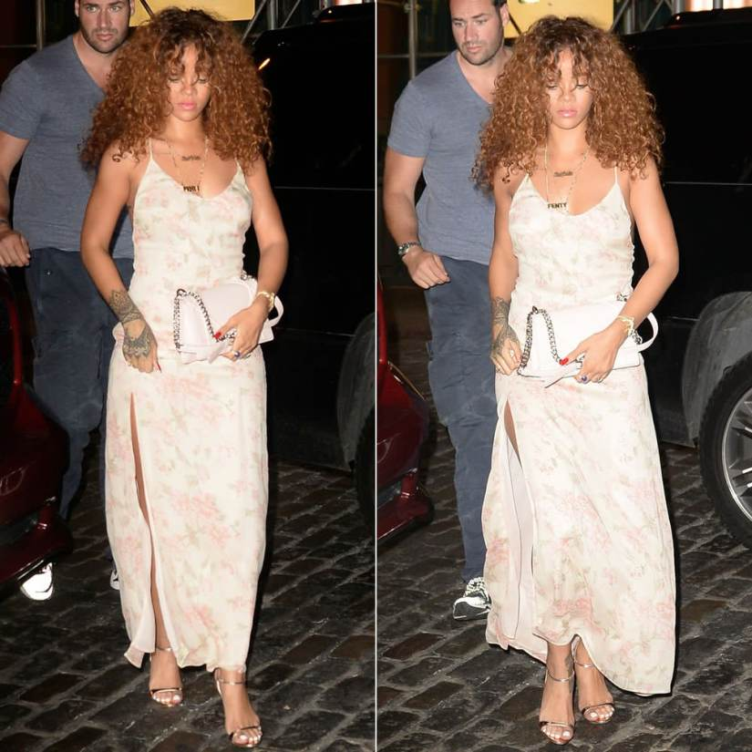 Rihanna wearing Reformation Cosima dress in edith floral print, Prada metallic gold sandals, Dior Diorama handbag