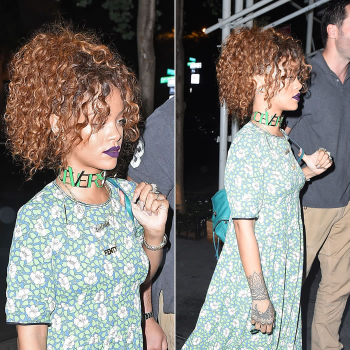 Rihanna wearing Marni green floral print dress, Versace Fall 2015 choker, Mala by Patty Rodriguez ride or die necklace, Delfina Delettrez Never Too Light green quartz ring, Lynn Ban ear cuffs
