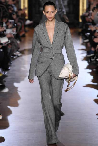 Stella McCartney Fall 2015 grey pant suit as seen on Rihanna