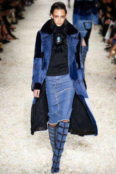 Tom Ford Fall 2015 patchwork fur coat, denim skirt and patchwork denim boots as seen on Rihanna