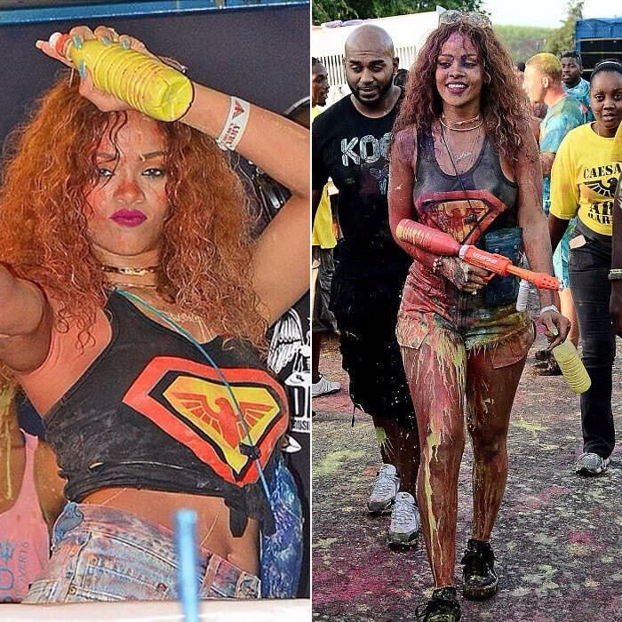 Rihanna at Caesar's Army Barbados 2015 Ambush party wearing Jennifer Fisher ribbon knot choker