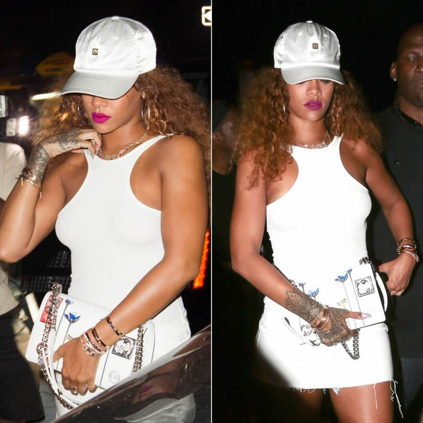 Rihanna wearing H&M white ribbed bodysuit, Dior Resort 2016 Diorama patch handbag, Jennifer Fisher custom Fenty diamond necklace, Jacquie Aiche shaker diamond necklace