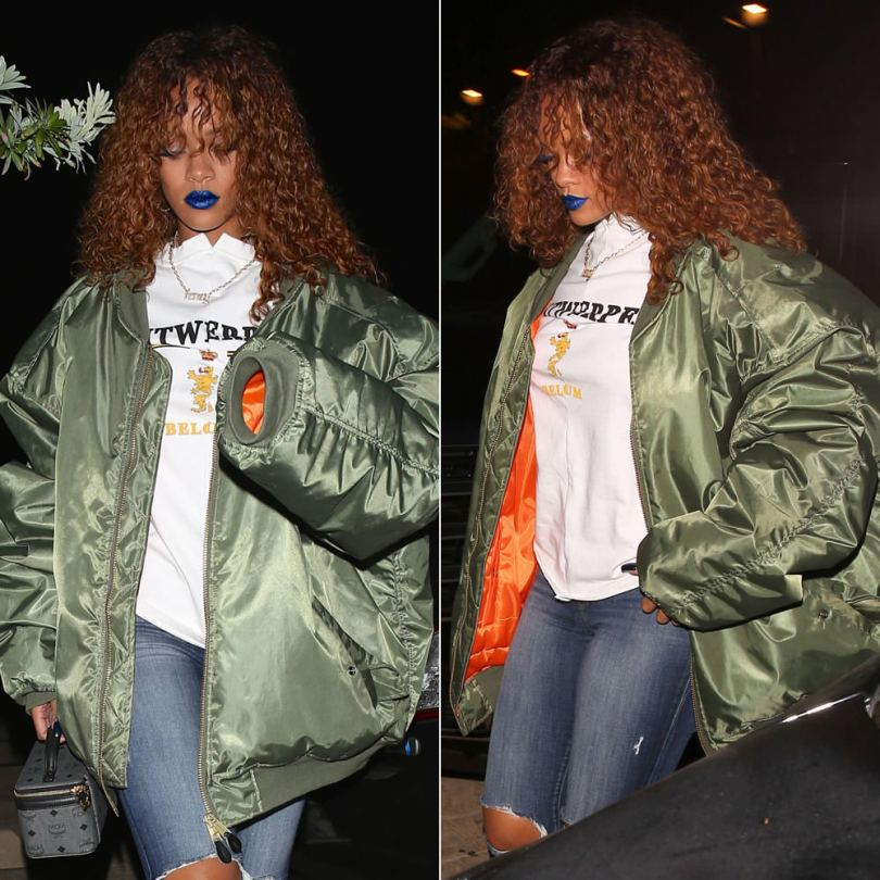 Rihanna wearing Vetements green oversized bomber jacket and Antwerp t-shirt, J Brand 835 midrise cropped skinny jeans, Puma x Mr Completely creeper shoes, Jennifer Fisher Fenty necklace, MCM cosmetics train case
