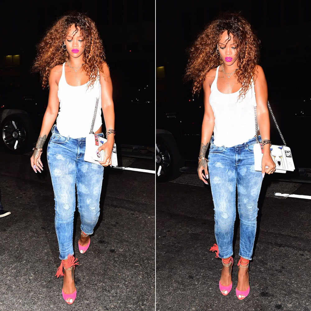 Black sandals rihanna - Next Rihanna Who Looked Incredibly Sexy Was Spotted Heading To Sobs Night Club Where Travis Scott Performed Last Night She Wore A White Tank Top With