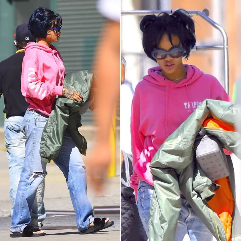 Rihanna wearing Trapstar pink Decoded hoodie, Vetements Fall 2015 oversized bomber jacket, Puma fur-trim slides, Sunday Somewhere Kurt sunglasses
