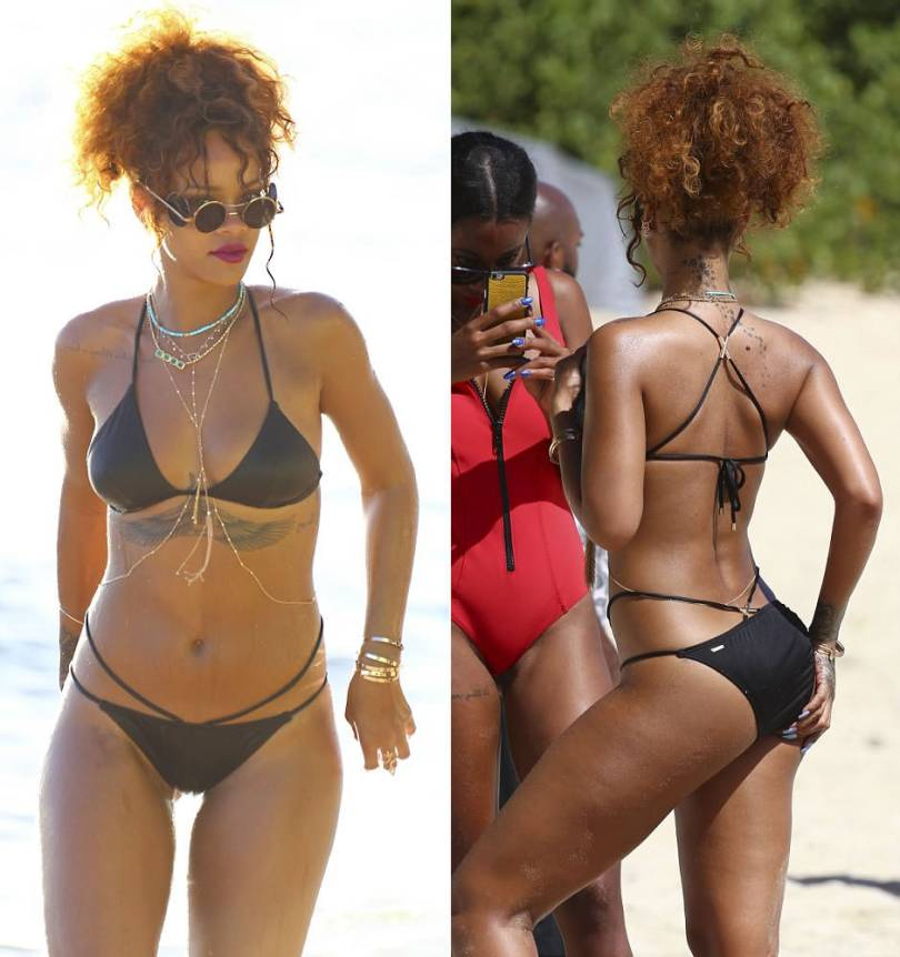 Rihanna wearing Victoria's Secret black one-shoulder triangle top and double-strap cheeky bikini bottoms, Junior Gaultier side lens sunglasses, Jacquie Aiche jewelry