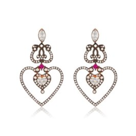 Sabine G 18k gold relic heart earrings as seen on Rihanna