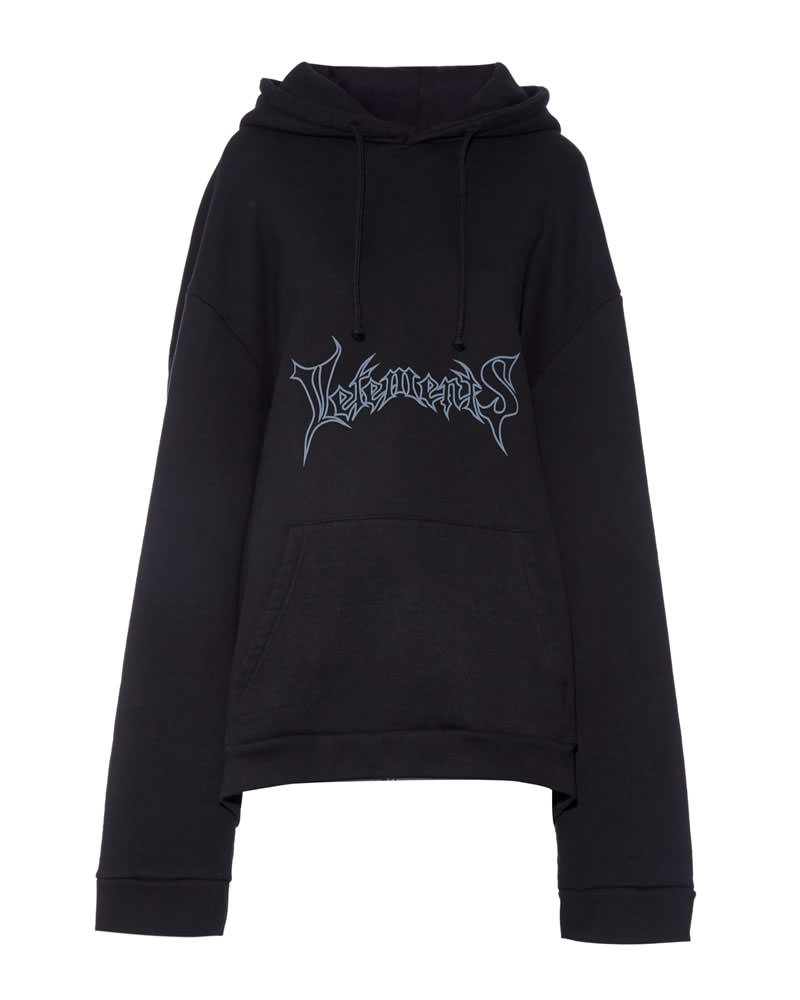 Vetements black oversized logo hoodie as seen on Rihanna