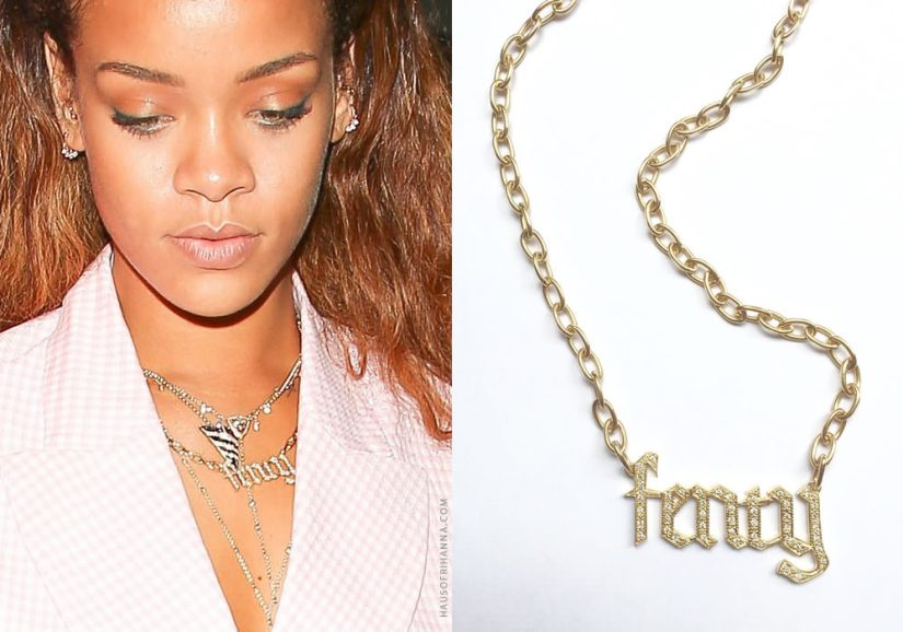 Rihanna wearing Jennifer Fisher custom Fenty gothic letter diamond necklace