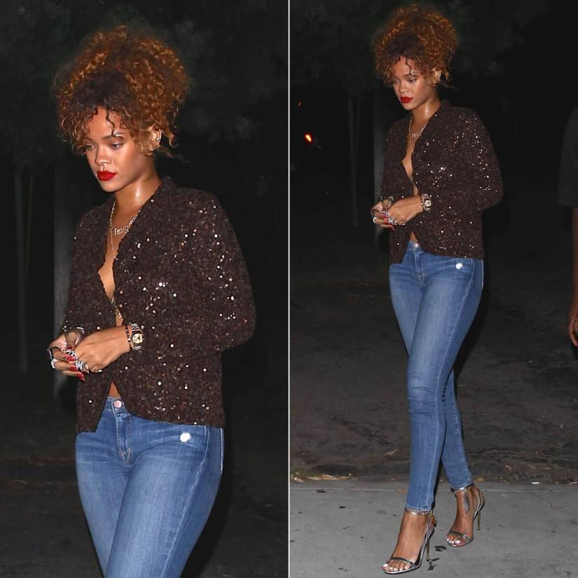 Rihanna wearing Dries Van Noten Babis brown sequined jacket, Tom Ford silver ankle-strap padlock sandals