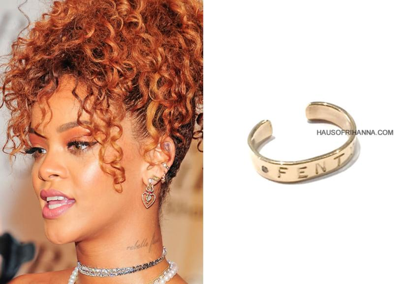 Rihanna wearing Jennifer Fisher custom Fenty ear cuff