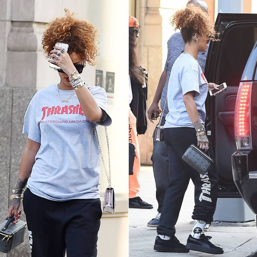 Rihanna wearing Thrasher skate mag t-shirt, skull sweatpants, Puma x Mr Completely black suede creepers, Dior Diorama handbag, MCM cosmetics case, Jennifer Fisher Fenty necklace, Sass and Bide Shinjuku sunglasses