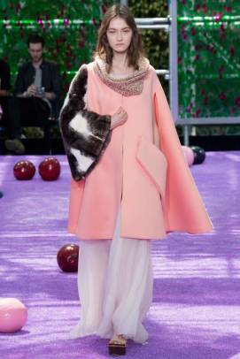 Dior Fall 2015 Couture pink coat with fur sleeve as seen on Rihanna