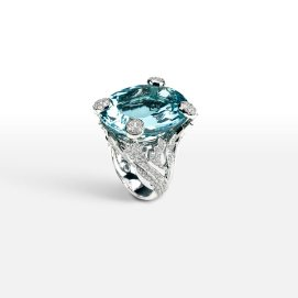 Dior white gold, diamond and aquamarine Miss Dior ring as seen on Rihanna