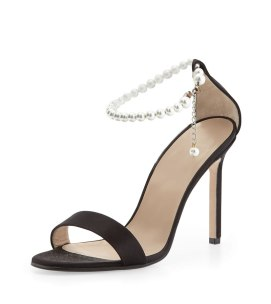 Manolo Blahnik Chaos pearl ankle-strap sandals as seen on Rihanna