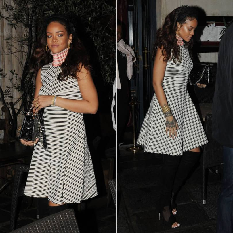 Rihanna wearing Dior pre-fall 2015 striped turtleneck dress, suede knee-high boots and crocodile handbag, Ultradior resin bead pearl ring, My Dior hoop earrings, bracelets and cuffs