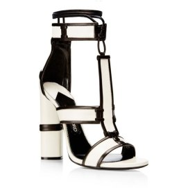 Tom Ford Fall 2015 white patchwork sandals as seen on Rihanna