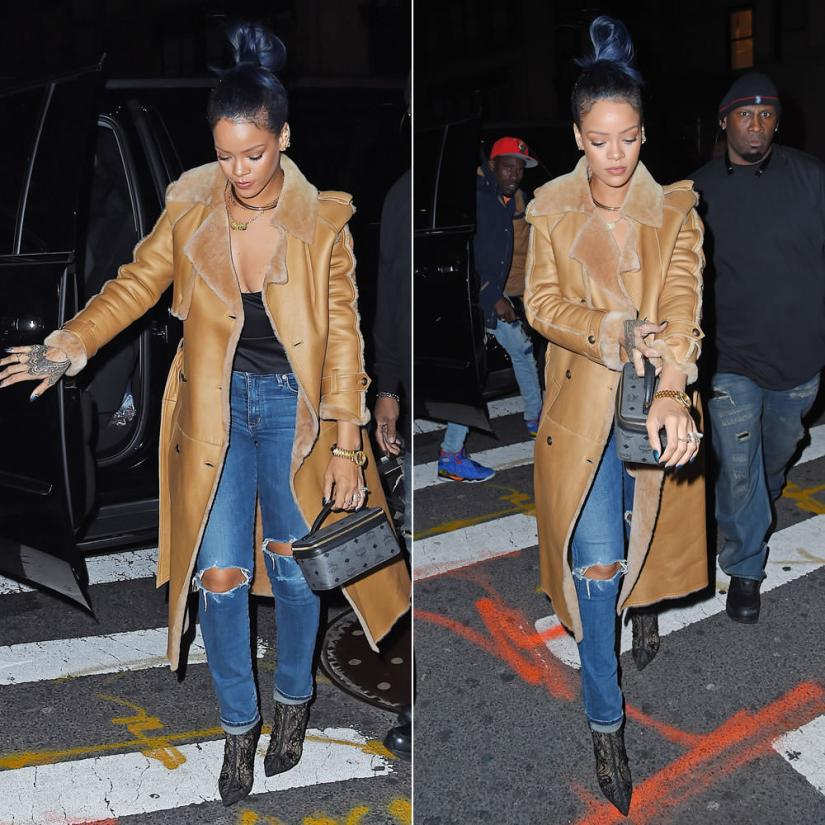 Rihanna Chanel leather trench coat, Citizens of Humanity premium vintage arley ripped jeans, MCM train case, Jennifer Fisher Fenty ear cuff and Stop It Right Now choker
