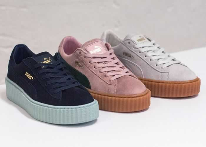 Puma by Rihanna blue, pink and white suede creepers