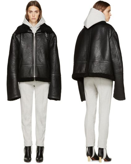 Vetements shearling-lined leather jacket as seen on Rihanna