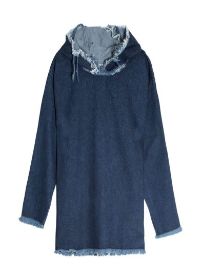 Marques'Almeida hooded denim dress as seen on Rihanna